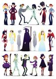 Halloween costumes. Vector illustration of young people dressed up for Halloween masquerade party isolated on white. Background. Couples of Halloween characters vector illustration