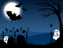 Halloween Country Scene [1]. A Halloween country night scene royalty free illustration