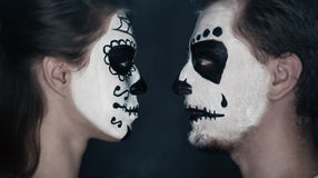 Halloween couple in love Stock Images