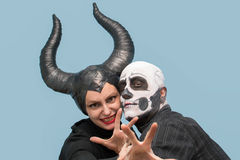 Halloween couple in traditional costumes and makeup Royalty Free Stock Photography