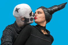 Halloween couple in traditional costumes and makeup Stock Photography