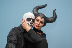 Halloween couple in traditional costumes and makeup Royalty Free Stock Image