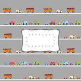 Halloween cover or wallpaper with copyspace. Crazy Halloween book cover with orange buses and colorful cars, driven of skeletons, with retro curvy clear sticker Royalty Free Stock Photography