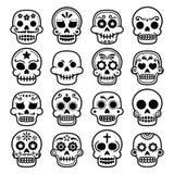 Halloween, cráneo mexicano del azúcar, Dia de los Muertos - iconos de la historieta stock de ilustración