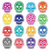 Halloween, cráneo mexicano del azúcar, Dia de los Muertos - iconos de la historieta Imagen de archivo