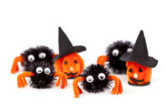 Halloween craft home decorations and ornaments, isolated on white Royalty Free Stock Photography