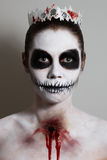 Halloween. Creative image. Facial mask. Portrait of girl with make-up for halloween Stock Images