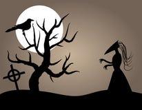 Halloween Creature. Evil Halloween Creature near Dead Tree and Crow. Included EPS vector file Stock Photos
