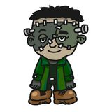 Halloween creature monster cartoon - Vector Illustration. Cute Halloween Frankenstein, Cartoon Creature Monster icon. Vector Character Design Stock Photography