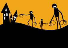 Halloween Creatures. Three creatures with long, claw-like arms walking towards some houses stock illustration