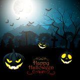 Halloween creepy forest at night with pumpkins on the full moon Royalty Free Stock Photo