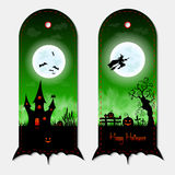 Halloween creepy green vertical banners labels set. Vector illustration. Royalty Free Stock Photos