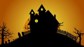 Halloween Creepy house ,graves ,bats and spooky trees on hill design