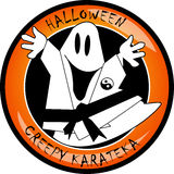 Halloween creepy karateka ghost Stock Images