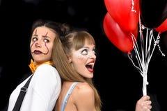 Halloween creepy make-up girls stock images