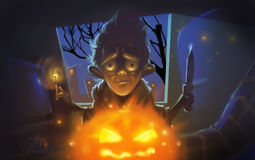 Halloween Creepy Man with Pumpkin Illustration. Halloween Raster Illustration. Creepy man holding a burning match and a sharp knife. Pumpkin with burning fire Stock Photography