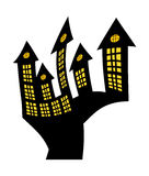 Halloween creepy scary hounted house, vector symbol icon design. Royalty Free Stock Photos