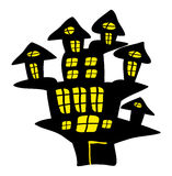 Halloween creepy scary hounted house, vector symbol icon design. Stock Photo