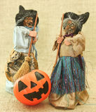 Halloween Creepy Ugly Witches and Jack Lantern Pumpkin royalty free stock image
