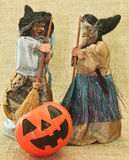 Halloween Creepy Ugly Witches and Jack Lantern Pumpkin Royalty Free Stock Images