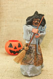 Halloween Creepy Ugly Witches and Jack Lantern Pumpkin stock photography