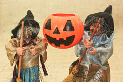 Halloween Creepy Ugly Witches and Jack Lantern Pumpkin royalty free stock photo