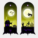 Halloween creepy yellow fantasy vertical banners labels set. Vector illustration. Stock Photography