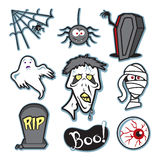 Halloween creepy zombie and mummy illustration set - collection Royalty Free Stock Photography