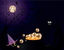 Halloween critters. With cat, Moon, bat, spider Royalty Free Stock Photography