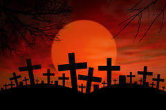 Halloween cross graveyard under full moon Stock Images