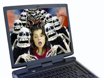 Halloween crowd. Laptop with halloween background. Computer generated image royalty free stock photography