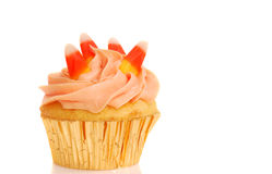 Halloween cupcake with candy corn royalty free stock photography