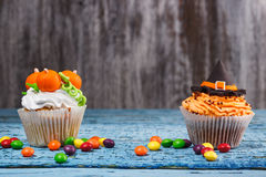 Halloween cupcake with colored decorations Royalty Free Stock Image