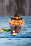 Halloween cupcake with colored decorations Royalty Free Stock Photography