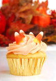 Halloween cupcake with fall foliage Stock Photography
