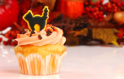 Halloween cupcake with fall foliage Royalty Free Stock Images