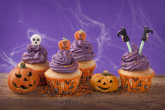 Halloween cupcake. Group of halloween cupcake and decoration Royalty Free Stock Photos