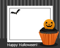 Halloween Cupcake Horizontal Frame [2]. Happy Halloween horizontal photo frame with a sweet cupcake, on gray background. Eps file available Stock Image