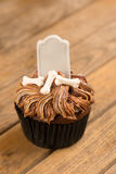 Halloween cupcake on an old wooden table Royalty Free Stock Photography