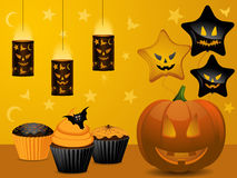 Halloween cupcake party background. Halloween party background with pumpkin, cupcakes, lanterns and balloons Royalty Free Stock Photos
