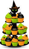 Halloween cupcake stand Royalty Free Stock Images