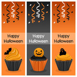 Halloween Cupcake Vertical Banners Royalty Free Stock Photos