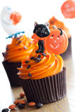 Halloween cupcakes. Cupcakes decorated with a halloween theme Royalty Free Stock Photo