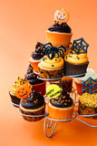Halloween cupcakes. Cupcake stand filled with Halloween cupcakes Stock Photo