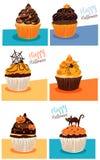 Halloween cupcakes stock illustratie