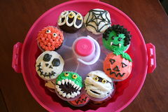 Halloween Cupcakes. A variety of homemade Halloween cupcakes in a cupcake carousel Stock Photography