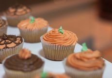 Halloween Cupcakes als Pompoen wordt gevormd die stock afbeelding