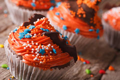 Halloween cupcakes with chocolate bat on a table macro. horizont Stock Image