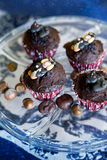Halloween cupcakes. Cute halloween themed cupcakes on blue background Stock Photo