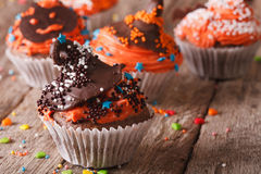Halloween cupcakes decorated with chocolate hat closeup. horizon Stock Photo